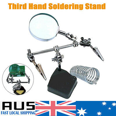 Solder Third Hand Soldering Iron Stand Holder Station Lens Magnifier Help Tool