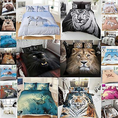 Duvet Cover Set With Pillow Case 3D Animal Print Single,double,king,s.king Sizes