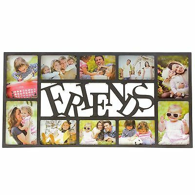 Friends Picture Collage Photo Frame 10 Photos 6 X 4 Inches Multiframe Black New
