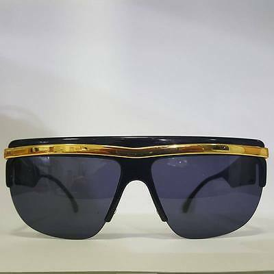 Vintage 80s Mask Sunglasses Black Gold Versace Bob Sdrunk style Made in Italy