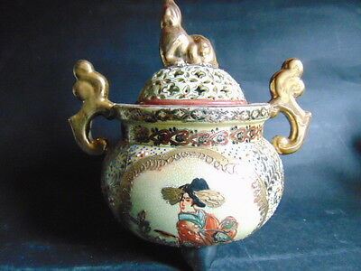 Royal Satsuma Hand Painted, Double Handled & Lidded Bowl On Three Base Legs