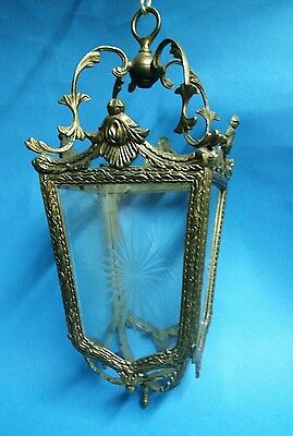 Antique French Brass and Cut Glass Hall Lantern
