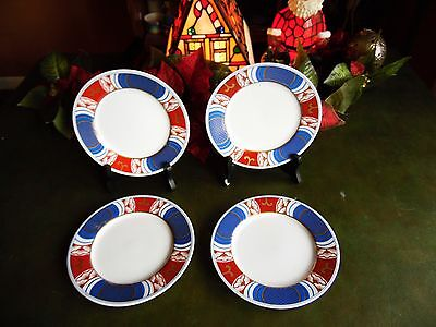 """4 Used Fitz And Floyd Fancy Plates Mcmlxxv 6.5""""r"""