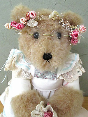 Vintage OOAK Country Bride Hand Made Bear Bears Under The Stairs w/stand