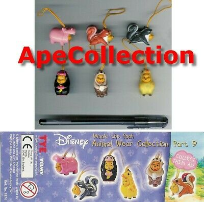 Set 6 Figure WINNIE POOH Animal Wear PART 9 TOMY Mini Winnies FIGURES Italy