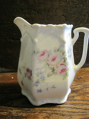 Vintage Porcelain Pink Floral Creamer  Made In Germany