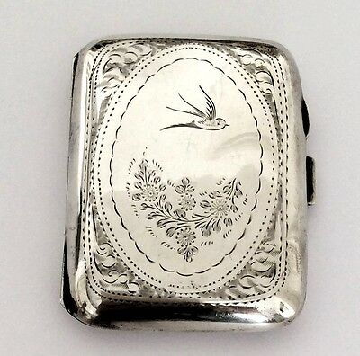 Antique Solid Silver Cigarette Case With Swallow Love Bird Decoration 1928