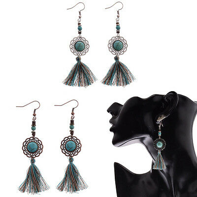 Fashion Bohemia Style Tassels Hook Flower Drop Dangle Retro Women Earrings