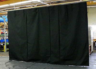 Black Stage Curtain/Backdrop 8 H x 15 W (Non-FR) with 15 feet of Curtain Track