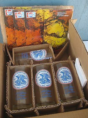 Set of 4 Vintage 1976 Pepsi Bicentennial Glasses NEW IN BOX!