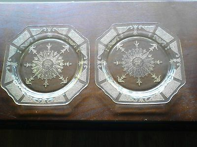 "Hocking 'Princess' Yellow Depression Glass 9"" Dinner Plates Set of 2"
