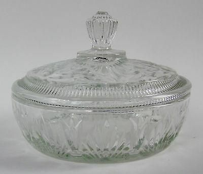 AVON Clear Pressed Glass COVERED BATH or VANITY POWDER DISH JAR Marked 1970s-80