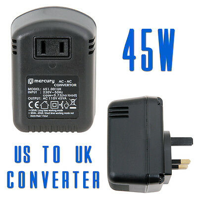 Mercury Step Down Travel Voltage Converter Adaptor US to UK 45W (651.001)