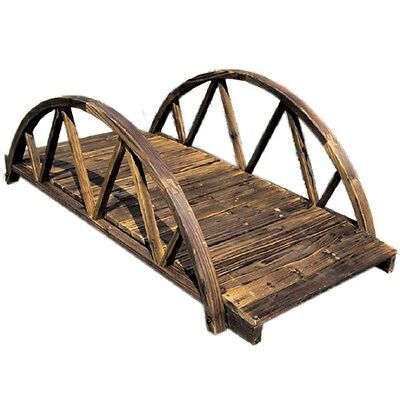 5 Ft Garden Ornamental Arched Bridge Solid Wood Pond Walkway Low Rail Burntwood