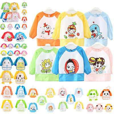 Cute Long Sleeve Waterproof Baby Children Boy Girl Art Smock Feeding Apron Bib