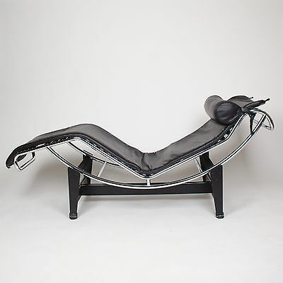 Recent Original Le Corbusier Cassina LC4 Chaise Lounge Chair Black Leather Knoll