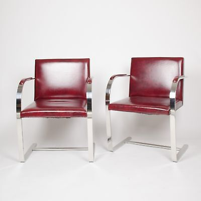 Knoll International Stainless Mies Van Der Rohe Brno Flat Bar Armchairs Bauhaus