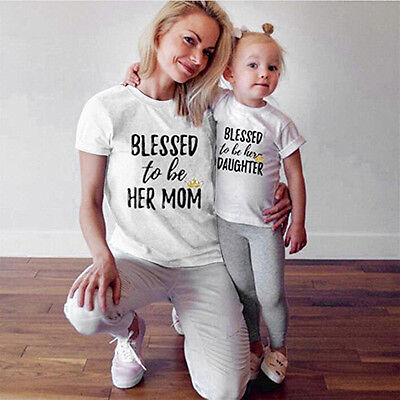 Family Look Mother and Daughter T-shirt Clothes Matching Family Tee Tops Blouses