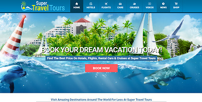Established 1-Click Commission Fully AUTOMATED Turnkey TRAVEL BOOKING Website