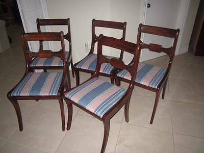 Dining Room Chairs 1950's Antique Cherry Duncan Phyfe Style Set Of Five