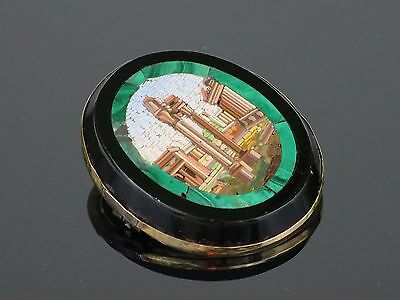Rare Antique Victorian c1840 Italian Micro Mosaic Brooch with Roman Forum 10.8g
