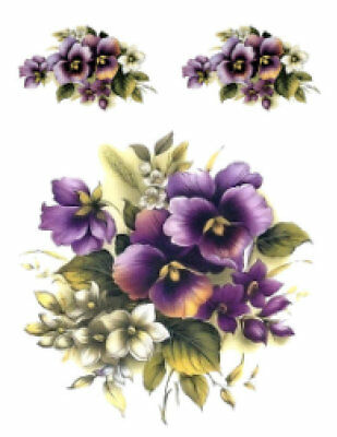 Vintage Image Victorian Purple Violets Pansies Shabby Waterslide Decals FL156