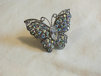 """Stunning Cocktail Ring Silver Tone Stretch AB Rhinestones Butterfly 1 3/4"""" Face"""