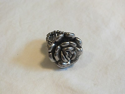 "Beautiful Cocktail Ring Silver Tone Flower Shape 1"" Face NICE"
