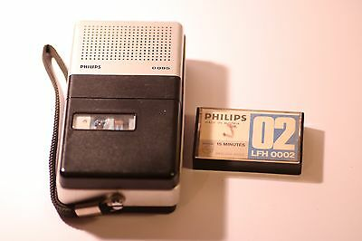 Vintage Philips LFH 0085 Pocket Mini Cassette Recorder / Dictation Machine & Box