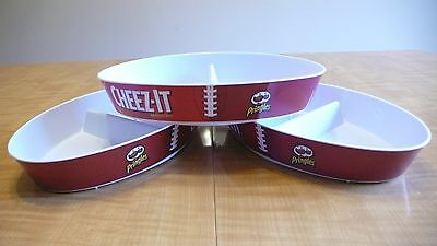 Set Of 3  Cheez-It & Pringles Logo Football Shaped Divided Chip  Dip Party Bowl