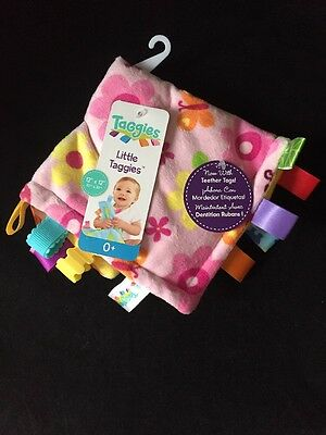 """Taggie little taggies plush blankee, 12"""" X 12"""", Pink, 0 Month+, New"""
