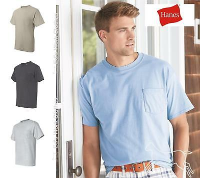 Hanes Mens Blank Short Sleeve Cotton Beefy T Shirt with a Pocket 5190 Up to 3XL