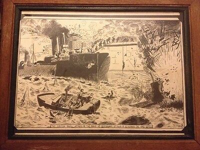 Original Journalist  Drawing Of British Naval Attack Zeebrugge St Georges Day