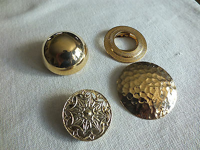 "Beautiful Collectible Gold Tone Scarf Clip Set 4 Ornate 1 1/4x 1 3/4"" NICe"