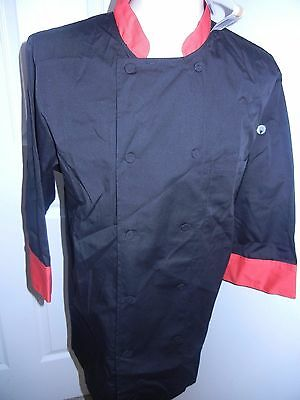 Chef Works COLOR Essential 3/4 Sleeve Morocco Chef coat  (JLCL) Black / RED NEW