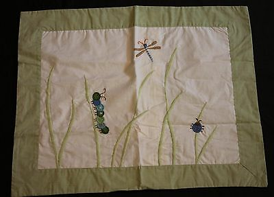 Spring Meadow Crib Pillowcase Dragonfly Caterpillar Green Sham PBK Pottery Barn