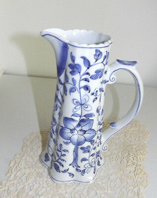 Beautiful Andrea by Sadek Tall Slender BLUE & WHITE Floral Pitcher Vase 8.25""