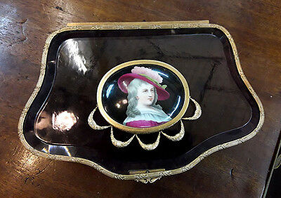 Antique French Bronze & Crystal Jewelry Box W/ Porcelain Oval Plaque