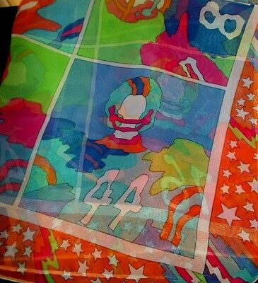 "Vintage Woman's Scarf, 1970's Colorful Peter Max Style, 27"" x 27""-Perfect, Japan"
