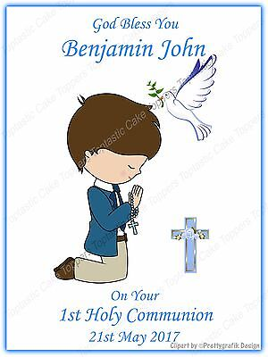 Personalised Boys 1st First Holy Communion Edible Icing Party Cake Topper
