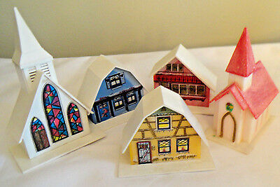 Vintage Plastic CHRISTMAS ALPINE VILLAGE HOUSES & CHURCHES  LIGHT COVERS - Set 6
