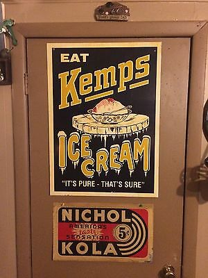 Vintage 1950s 60s kemps ice cream large metal advertising sign nice!!