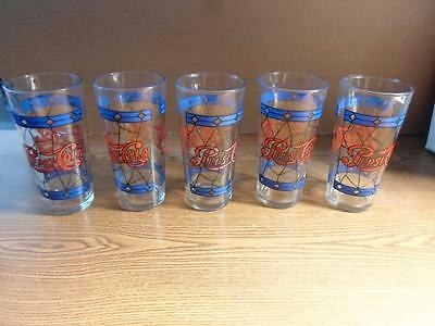 """Set 5 Vintage Pepsi Cola Large Glasses Stained Glass Tiffany 6 1/4"""" 16 Oz 1970's"""