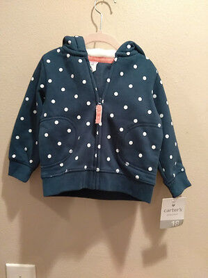 Carter's hoodie cotton blue white dots size 18 months