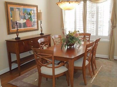 Cherry Wood Dining Room Set With 2 Arm Chairs And 4 Side Chairs With Side Buffet