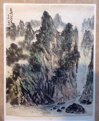 Chinese Painting Scroll Signed & Stamped Landscape Mountains Boats River