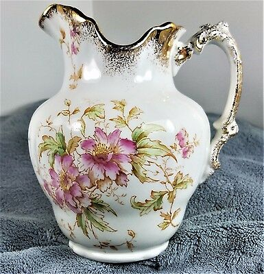 Antique Maddock's Lamberton PITCHER Flowers/ GOLD TRIM