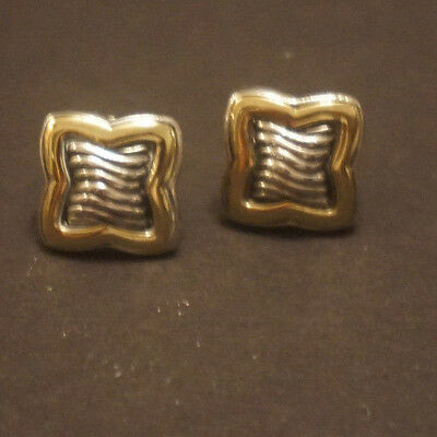 David Yurman Sterling Silver 18K Gold 925/750 Earrings Carved Cable