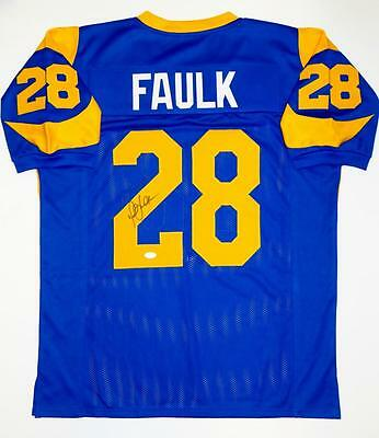 Marshall Faulk Autographed Blue Pro Style Jersey- JSA Witnessed Auth