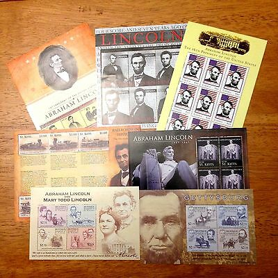 Abraham Lincoln Civil War 7 Souvenir Sheets 5 Different Nations All Unused |